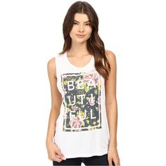 Life is Beautiful Beautiful Box Floral - Muscle Tank (White/Floral)... (£11) ❤ liked on Polyvore featuring tops, white, white sleeveless top, sleeveless tops, white top, floral tank and floral tops