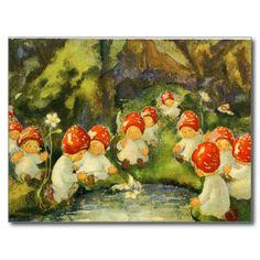 Serpentina, Elves And Fairies, Mushroom Art, Vintage Fairies, Fairytale Art, Flower Fairies, Fairy Art, Cute Illustration, Vintage Images
