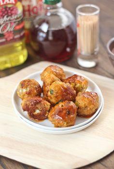Buffalo Chicken Meatballs -- For extra flavor try adding Underwood Buffalo Style White Meat Chicken Spread - underwoodspreads.com #meatball #recipe #underwood