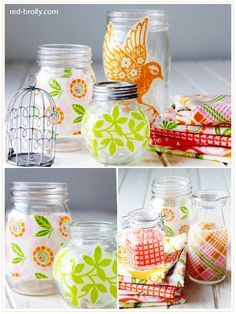 Make pretty jars using your fabric scraps - Red Brolly