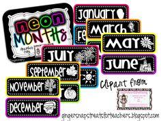 Ginger Snaps: neon months freebie