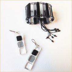 Glass jewelry • 2-piece black and crystal set