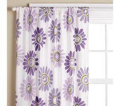 Girls Curtains: Girls Purple Daisy Curtain Panels