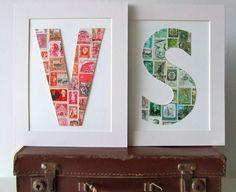 Leuk idee om met postzegels in zelfde kleur te maken.