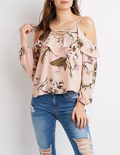 Charlotte russe caged ruffle cold shoulder top clothing and Classy Outfits, Cool Outfits, Fashion Outfits, Western Tops, Moda Chic, Elegantes Outfit, Blouse And Skirt, Business Dresses, Skirt Outfits