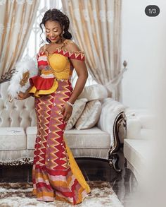 African Fashion Dresses, African Dress, Fashion Outfits, Women's Fashion, Kente Dress, Kente Styles, African Design, Traditional Wedding, Formal Dresses