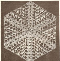 vintage crochet pattern for hexagon shape by VintageVisageonEtsy, £0.81