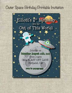 Outer Space Birthday Party Invitation Outer Space Party