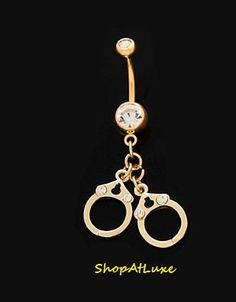 Sexy Handcuff Belly Button Ring with Crystal - In Silver or Gold