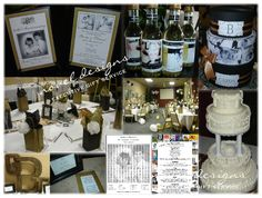 "#50th #Wedding #Anniversary #Party - Venue Decor, Cake (Replica of Original for 1962), Invites, Custom Wine Bottle Favors, Custom Card Box, Placemats, Favor Bags, Mile ""Stone"" Guest Book, Monogram - noveldesignsllc.com"