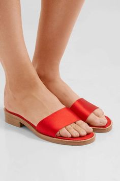 Heel measures approximately 40mm/ 1.5 inches Red satin Slip on Imported