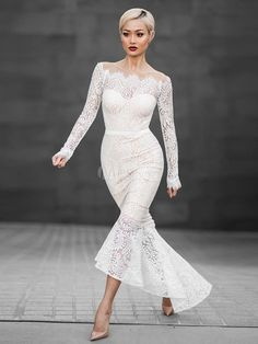 ba4ab7249106 Sexy Lace Dress White Mermaid Off The Shoulder High Low Bodycon Dress
