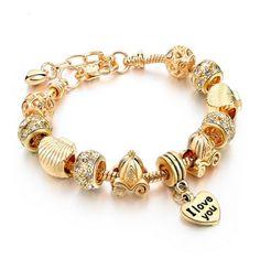 Felicita - 14 Variants of Murano Glass Beads Gold / Silver Heart Charm Bracelet