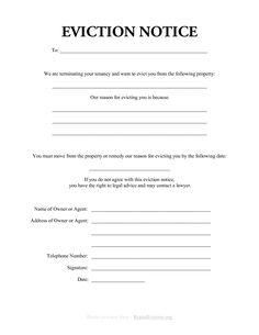 Free Eviction Notice Form  Free Printable Eviction Notice Template