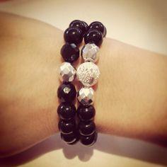 Silver and black bracelet set by AroundMyWrist on Etsy, 16.50