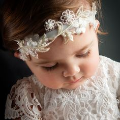 Infant Girl Headband - Lola Christening/Baptism Collection - Designer Gowns & Headbands
