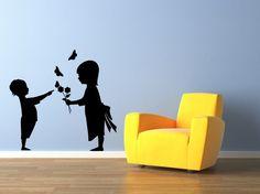 Girl, Boy, Flowers, Toddlers, Butterflies, Siblings - Decal, Sticker, Vinyl, Wall, Home, Nursery, Daycare Decor