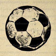 Digital Image Soccer Ball Graphic Sports Printable Download Antique Clip Art. High quality, high resolution digital illustration. This printable digital image can be used for iron on transfers, printing, tea towels, and much more. Great for use on etsy items. This digital image is high quality, high resolution at 8½ x 11 inches. Transparent background PNG version included.