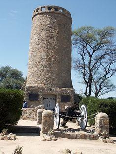"""Namibia_Erongo_Omaruru_Franke_1.JPG (425×567) The """"Franke Tower"""" in Omaruru, remembering the Battle of Omaruru between Germans and Ovaherero, 17.01. - 04.02.1904, Erongo Region Copyright of Photos: Dr. Klaus Dierks"""