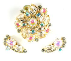 DeLizza and Elster Juliana Iridescent Crystal Rhinestone Brooch and Earrings, offered by Anna's Vintage Jewelry.