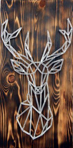 Hirsch Silhouette, Deer Silhouette, Deer Pictures, Wall Decor Pictures, Deer Wood, String Art Diy, Deer Head Decor, Deer Signs, Geometric Deer
