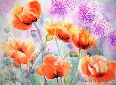 Original Watercolor Poppies Flower Garden Painting by rsharts, $140.00