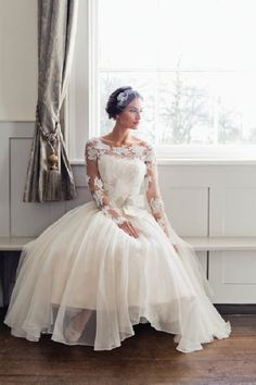 Florla Long Lace Sleeved Tea Length Organza Wedding Dress with Bow Ribbon