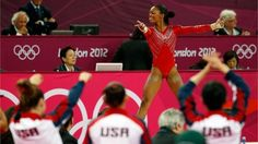 Gabrielle Douglas of the USA performs on floor exercise in the Artistic Gymnastics women's Team final on Day 4