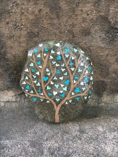 Heart tree painted rock by Christa Keeler