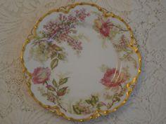 """Haviland Limoges 8 1/2"""" Plate, Pink Roses, Gold Trim #HavilandLimoges"""