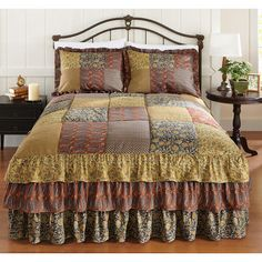 Collections Etc Deer Path Tiered Ruffle Bedspread  alternate image