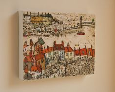 TEJADOS de WHITBY, North Yorkshire Costa lona impresión por el artista Clare Caulfield. Firmó el lienzo de la caja. Colores otoñales de ricos,