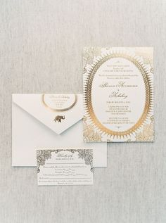 Gold and white wedding stationary: Photography: When He Found Her - whenhefoundher.com   Read More on SMP: http://www.stylemepretty.com/2017/03/01//