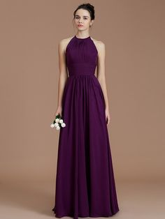 9e0e3465eed3a A-Line/Princess Halter Sleeveless Ruched Floor-Length Chiffon Bridesmaid  Dresses