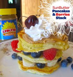 Stack up berries, bananas and SunButter with pancakes -- top with whipped yogurt and a cherry, of course! More recipes in link.
