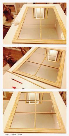DIY: Espejo ventana low cost   Decoración Old Window Frames, Window Mirror, Diy Mirror, Apple Home, Shabby Chic Mirror, Mirror Makeover, Diy Home Decor, Ikea, Furniture Design