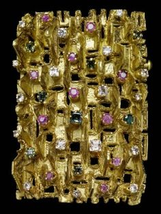 Anton Fruhauf, gem-set pendant/brooch, 18K gold with rubies, sapphires, and tourmalines, 1967