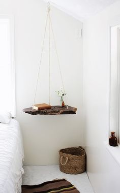 DIY Hanging Bedside Table