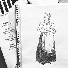 こういう外国のおばちゃんスタイル可愛いよね。今年流行ってる白トップスを黒いガウチョとかスカートにインする感じに似てる。  #illustration #fashion #fashionillustration