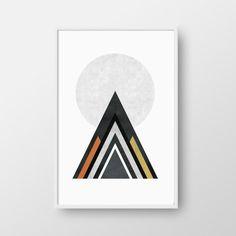 Printable Scandinavian Print, Geometric Poster, Mountain Print, Nordic Poster, Mid-Century Print, Modern Art, Scandinavian Poster