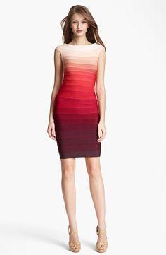 Herve Leger Bridget Ombre Bandage Dress Red