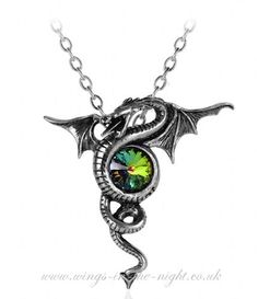 Alchemy Gothic Pewter Dragon Crystal Necklace - http://www.wings-in-the-night.co.uk/alchemy-gothic-pewter-dragon--crystal-necklace-430-p.asp