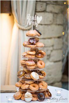Krispy Kreme doughnut cake - Cotswolds wedding photography. Cripps barn