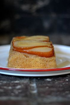 Spiced Pear Upside Down Cake, sweetened with Maple Syrup and perfect for the holidays!