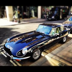 have a look at this classic car - the british star 'E-Type Jaguar'. Classic Sports Cars, British Sports Cars, Best Classic Cars, British Car, Lamborghini, Vintage Cars, Antique Cars, Automobile, Tata Motors