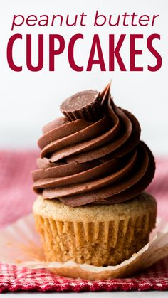 Peanut butter cupcakes are tender, flavorful, and EASY, making this updated recipe the indisputable peanut butter cupcake champion! Butter Cupcake Recipe, Peanut Butter Cupcakes, Cupcake Flavors, Cupcake Recipes, Cupcake Cakes, Dessert Recipes, Cupcake Ideas, Party Recipes, Cup Cakes