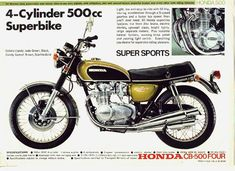 The classic of classics. Vintage Honda CB500 Four. candy jade green, 4 cylinder, 500cc Superbike motorcycle ad.
