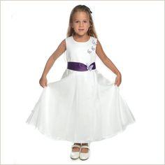 Eden Ivory Flower Girl Dress with Purple Sash