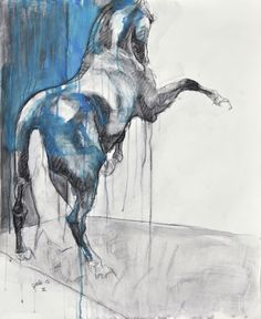 Large drawing of a rearing up horse, back view.  Medium: black chalk and acrylic, finished with a varnish, signed on front Support: paper (without frame), sent rolled in a tube Size: 35.4 x 29....