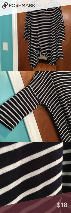CLOSET CLEAR OUT✨Striped high low top Navy and white striped top Cato Tops Tunics